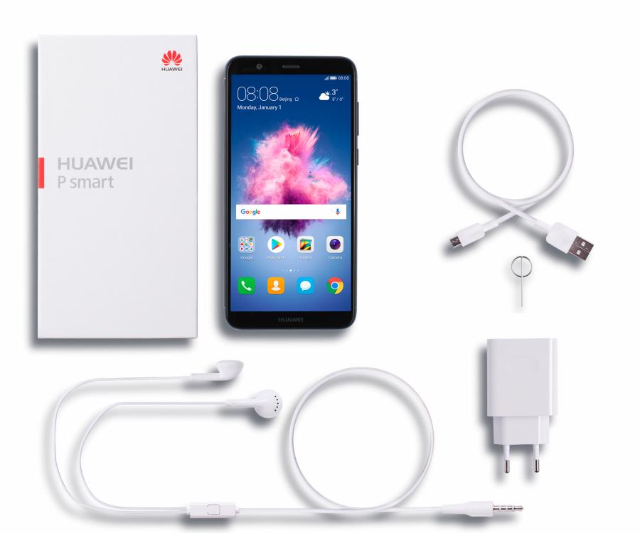 Huawei P smart DS  zestaw OEM: Telefon, Słuchawki, Ładowarka, Kabel USB, Instrukcja obsługi, Karta gwarancyjna, Folia ochronna TP, kluczyk do wyjmowania karty SIM