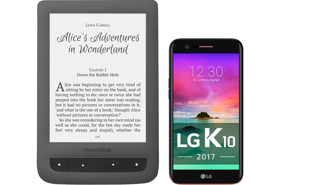 LG K10 LTE Dual (2017) + PocketBook Touch Lux 3