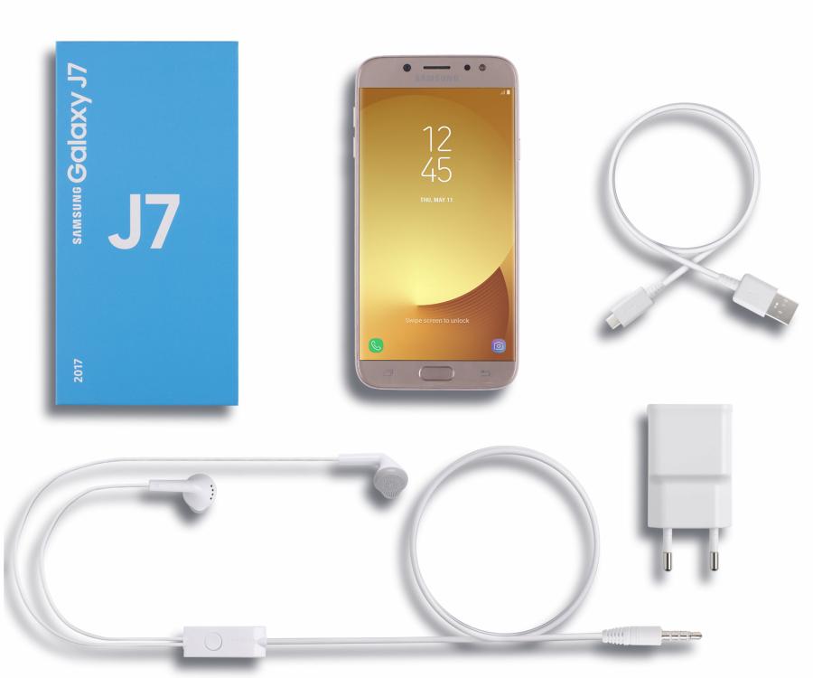 Samsung Galaxy J7 zestaw OEM: telefon, ładowarka, kabel USB, słuchawki, instrukcja obsługi