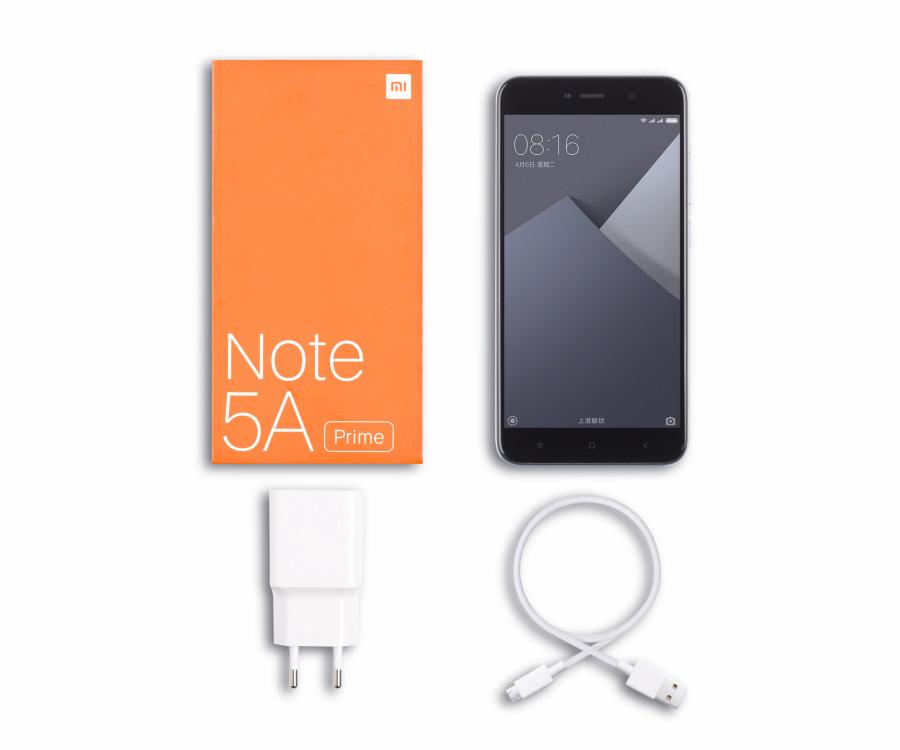 Xiomi Redmi Note 5A Prime zestaw OEM: telefon, ładowarka, kabel USB, instrukcja obsługi