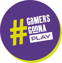 Okrągła ikona z tekstem '# GAMERS GONNA PLAY'